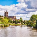 Picture of Worcester Cathedral and the River Severn - Editorial use only